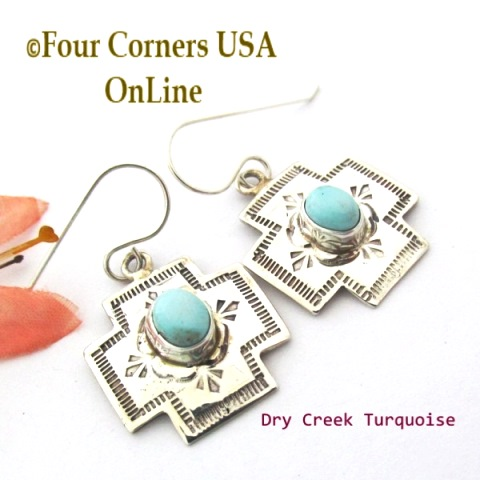 Native American Cross Earrings Four Corners USA OnLine Turquoise Silver Jewelry