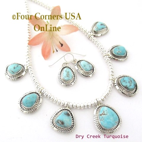 Dry Creek Turquoise Fine Jewelry Set Navajo Robert Concho Four Corners USA OnLine Native American Silver Jewelry
