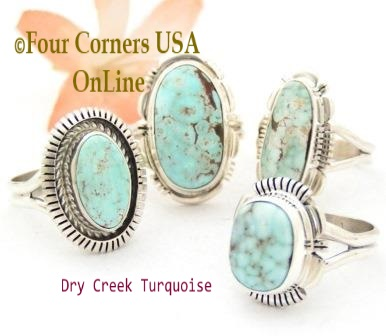 Size 6 Dry Creek Turquoise Rings Four Corners USA OnLine Native American Navajo Silver Jewelry