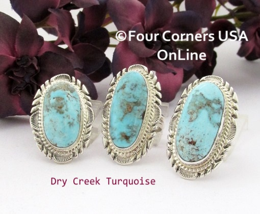 Nevada Dry Creek Turquoise Rings for Men and Women Four Corners USA OnLine Native American Navajo Silver Jewelry