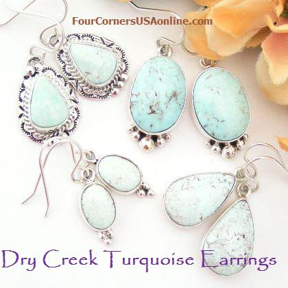 Dry Creek Turquoise Earrings Four Corners USA OnLine Native American Jewelry