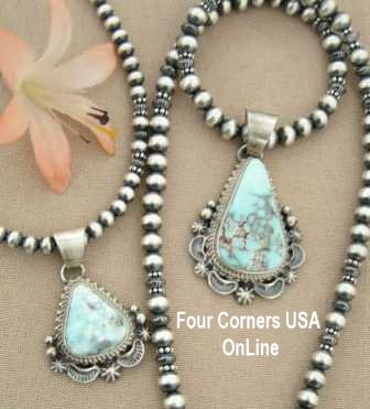 Dry Creek Turquoise Pendants and Sterling Beaded Necklace Four Corners USA OnLine Native American Jewelry