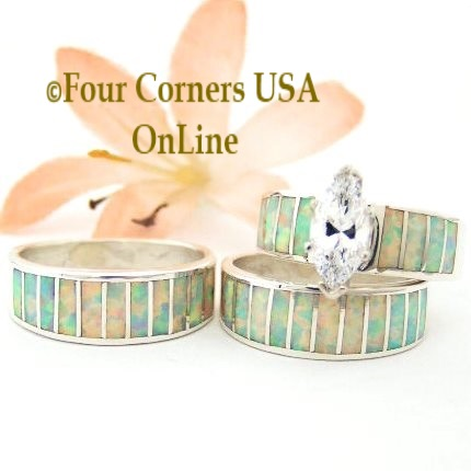 White Fire Opal Large Marquis Bridal Engagement Rings Wedding Band Sets Navajo Ella Cowboy Four Corners USA OnLine Native American Jewelry