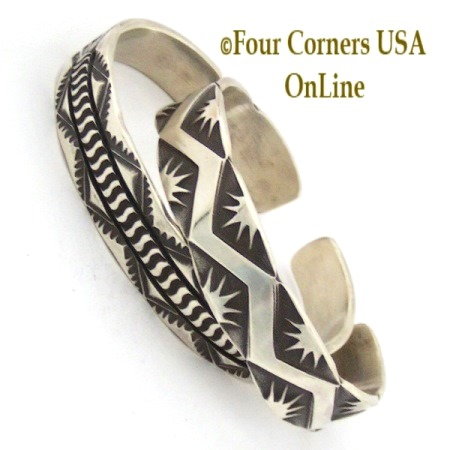 All Silver Stamped Cuff Bracelets for Men and Women Four Corners USA OnLine Native American Jewelry