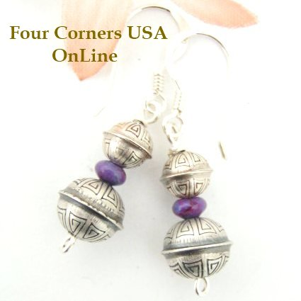 Mohave Purple Turquoise Earrings Navajo Silver Beads Four Corners USA OnLine Jewelry