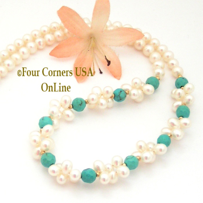 Pearl Turquoise Bead Necklace Four Corners USA OnLine Handcrafted Artisan Jewelry