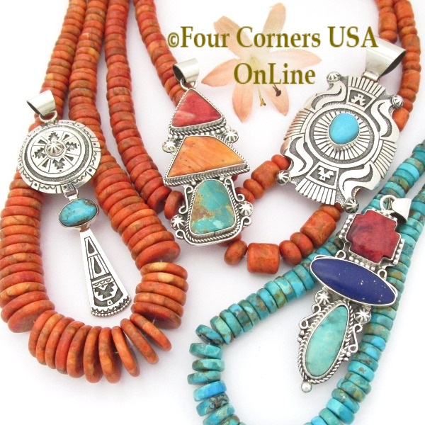 Native American Pendants Necklaces Sliders Four Corners USA OnLine Turquoise Silver Jewelry