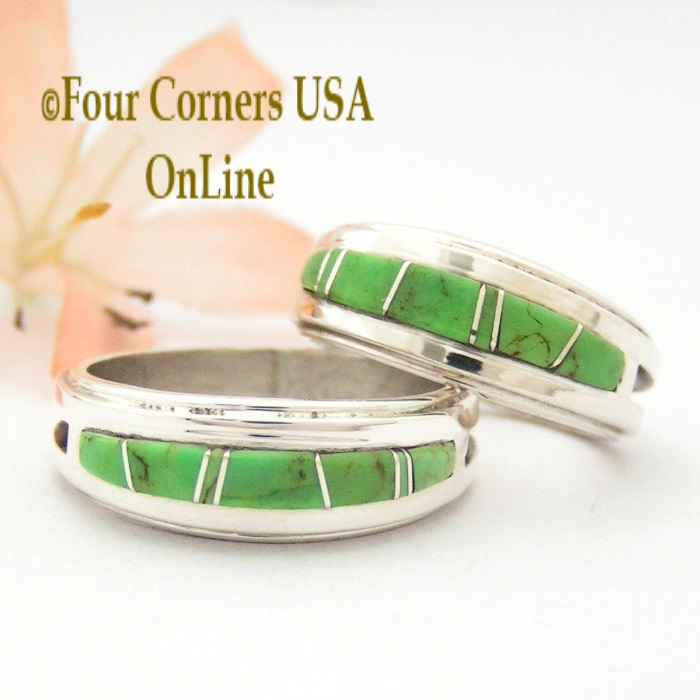 Gaspeite Inlay Band Rings Four Corners USA Online Native American Navajo Silver Jewelry
