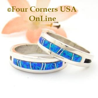Blue Fire Opal Inlay Band Rings Navajo Wilber Muskett Jr Four Corners USA OnLine Native American Jewelry