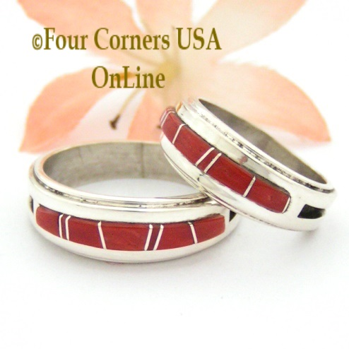 Coral Inlay Band Rings Navajo Wilbert Muskett Jr Four Corners USA OnLine Native American Jewelry