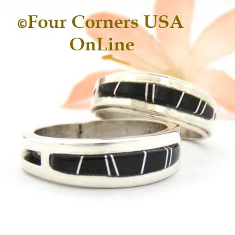 Black Jet Inlay Band Rings Navajo Wilbert Muskett Jr Four Corners USA OnLine Native American Jewelry
