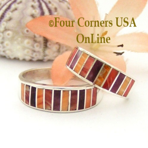 Multi Color Spiny Oyster Shell Inlay Wedding Band Rings Four Corners USA OnLine Native American Navajo Silver Jewelry