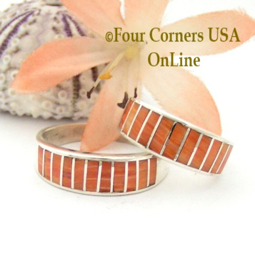 Orange Spiny Oyster Shell Navajo Wedding Band Rings Four Corners USA OnLine Native American Jewelry