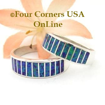 Purple Fire Opal Inlay Band Rings Navajo Ella Cowboy Four Corners USA OnLine Native American Jewelry