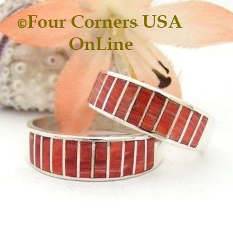Red Spiny Oyster Shell Inlay Band Rings Navajo Ella Cowboy Four Corners USA OnLine Native American Jewelry