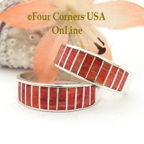Navajo Red Spiny Oyster Shell Inlay Wedding Band Rings by Ella Cowboy Four Corners USA OnLine Native American Jewelry