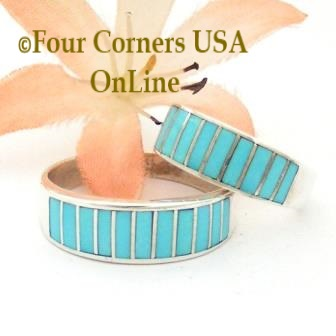 Turquoise Inlay Wedding Band Rings Navajo Silversmith Ella Cowboy Four Corners USA Online Native American Jewelry