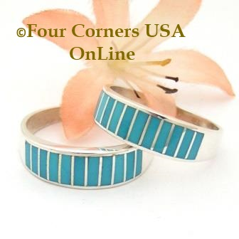 Turquoise Inlay Band Rings Navajo Ella Cowboy Four Corners USA OnLine Native American Jewelry
