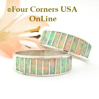 White Fire Opal Inlay Band Rings by Ella Cowboy Four Corners USA OnLine Native American Indian Silver Jewelry