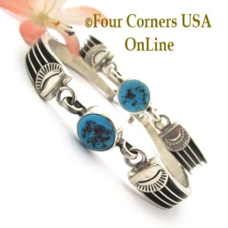 Turquoise Cuff Style Link Bracelet Four Corners USA OnLine Native American Silver Jewelry