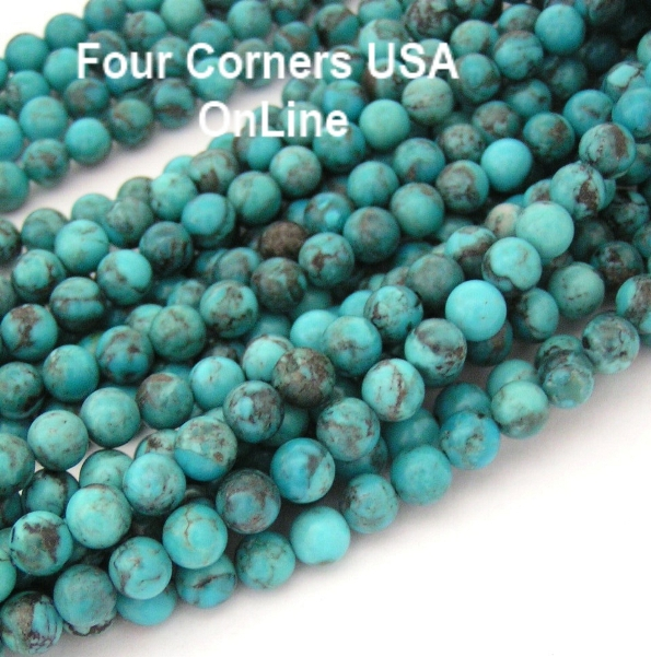 Round Kingman Turquoise Bead Strands Four Corners USA OnLine Jewelry Supplies
