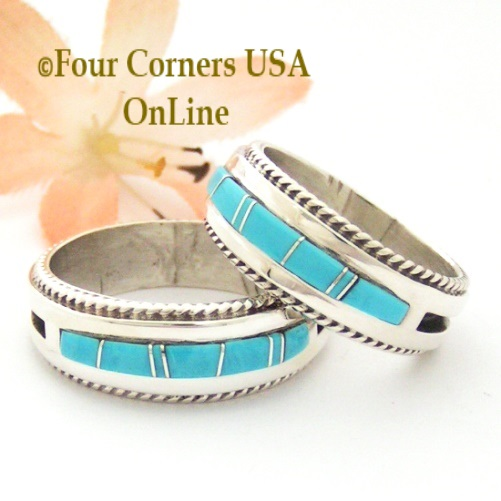Turquoise Inlay Band Rings with Rope Accent Navajo Wilber Muskett Jr Four Corners USA OnLine Native American Jewelry