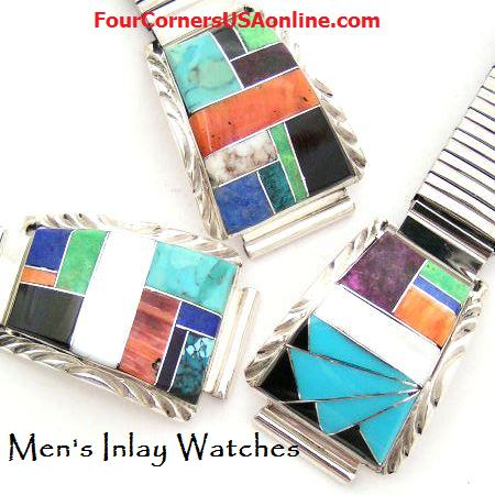 Mens Inlay Turquoise Leather Watches Four Corners USA OnLine Native American Indian Silver Jewelry