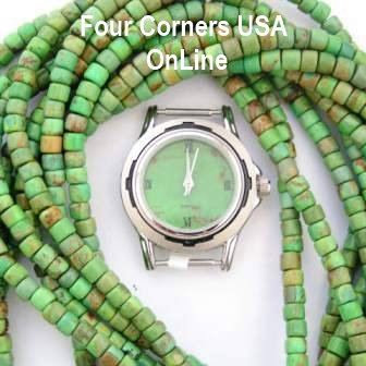 Mohave Green Turquoise Beads and Watch Face