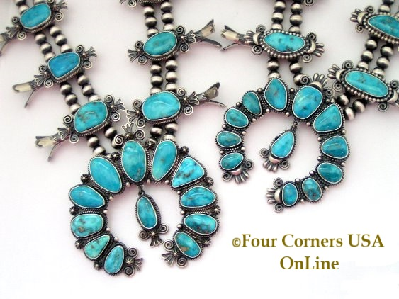 Morenci Turquoise Squash Blossom Necklace Four Corners USA OnLine Authentic Native American Silver Jewelry