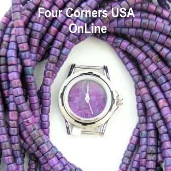 Mohave Purple Turquoise Watch Face and Bead Strands
