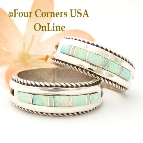 White Fire Opal Inlay Band Rings with Rope Accent Navajo Wilber Muskett Jr Four Corners USA OnLine Native American Jewelry