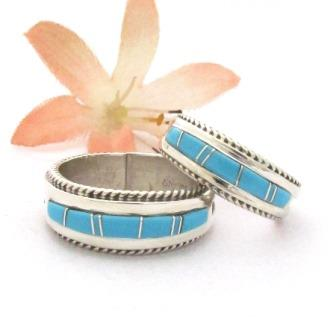 Turquoise Inlay Band Rings Navajo Wilbert Muskett Jr Four Corners USA OnLine Native American Jewelry