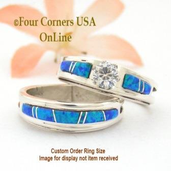 Blue Fire Opal Bridal Engagement Wedding Ring Set Navajo Wilber Muskett jr Four Corners USA OnLine