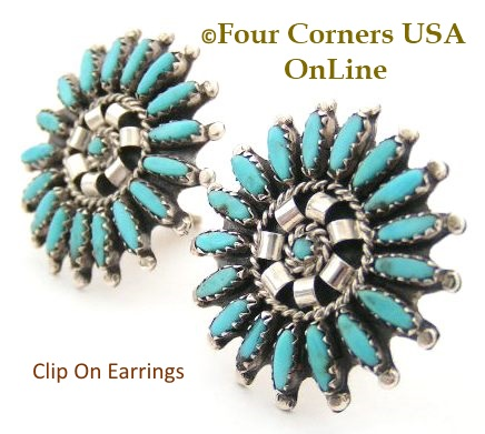 Needle Point Turquoise Cluster Clip On Earrings Four Corners USA OnLine Native American Zuni Silver Jewelry Nathanial and Rosemary Nez