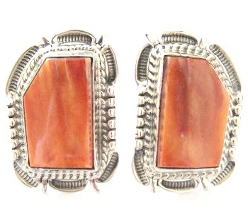 Spiny Oyster Earrings by Navajo Silversmith Bennie Ration at Four Corners USA OnLine Native American Jewelry