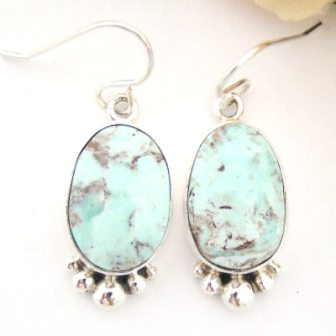 Dry Creek Turquoise Earrings Navajo Silversmith Shirley Henry at Four Corners USA OnLine Native American Jewelry