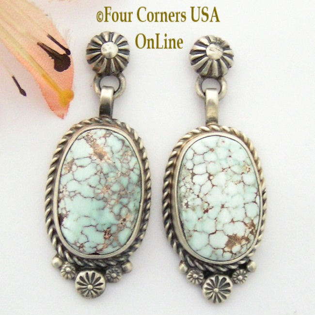 Dry Creek Turquoise Artisan Post Earrings Navajo Silversmith Shirley Henry Four Corners USA OnLine Native American Jewelry