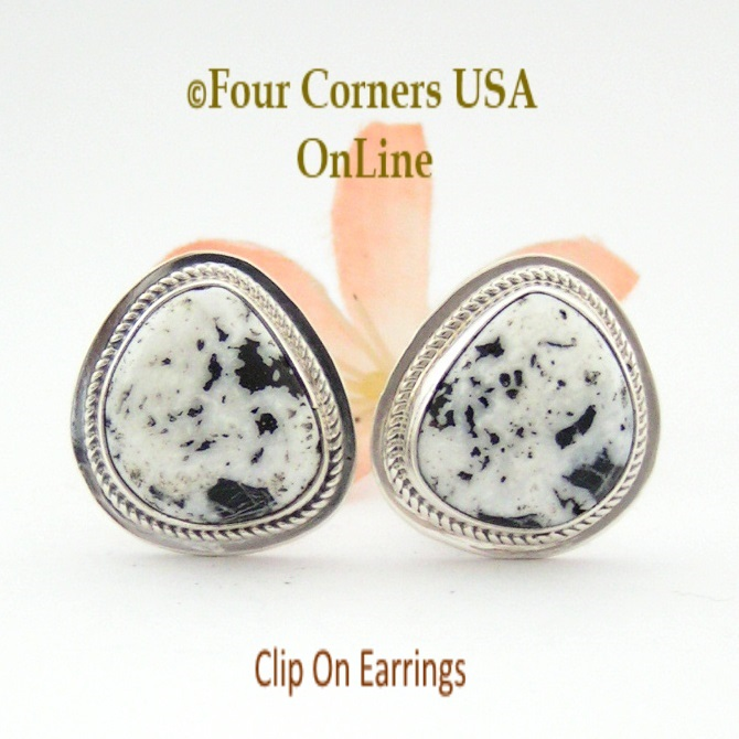 White Buffalo Turquoise Sterling Clip On Earrings Four Corners USA OnLine Navajo Artisan Lucy Valencia Jewelry NAER-1465