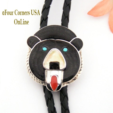 Black Bear Inlay Bolo Zuni Paul Peyketewa Jr Four Corners USA OnLine Native American Jewelry