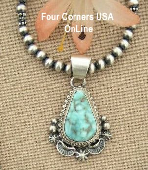 Petite Dry Creek Turquoise Pendant Satin Silver Bead Necklace Four Corners USA OnLine Native American Indian Jewelry