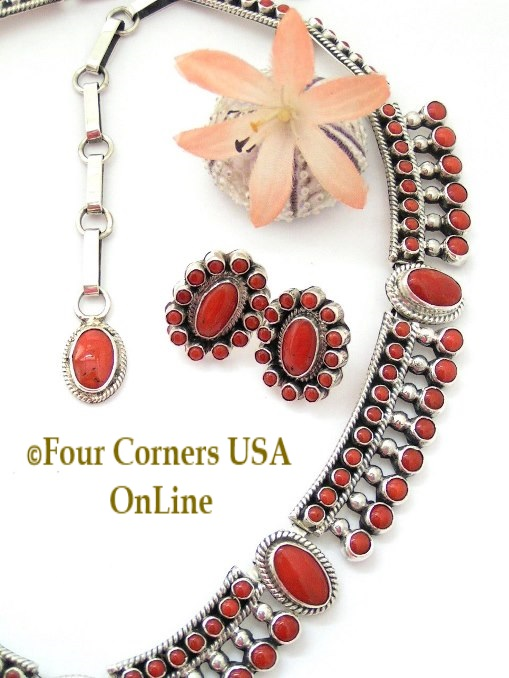 On Sale Navajo Alice Lister Coral Fine Jewelry Necklace Earring Set Four Corners USA OnLine Native American Jewelry