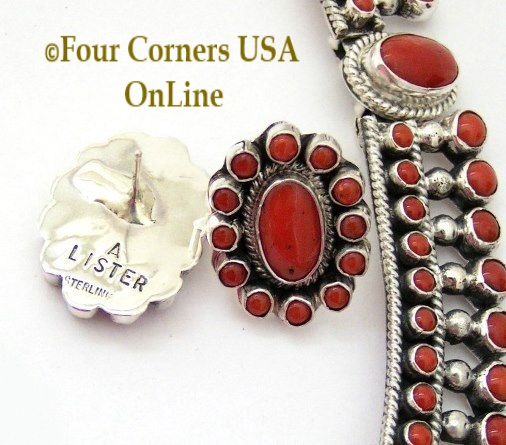 Coral Fine Jewelry Necklace Set Navajo Alice Lister Four Corners USA OnLine Native American Jewelry