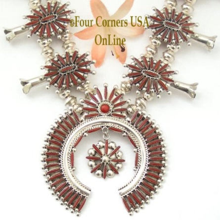 Zuni Needlepoint Coral Squash Blossom Jewelry Set Lance and Cordelia Waatsa Four Corners USA OnLine