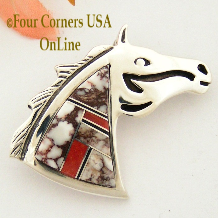 Crazy Horse Wild Horse Magnesite Four Corners USA OnLine Native American Silver Jewelry