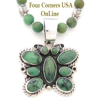 Green Turquoise Butterfly Necklace Four Corners USA OnLine