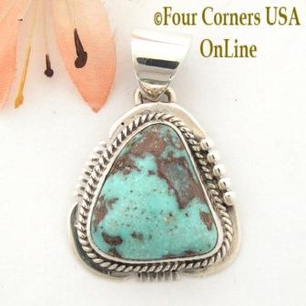 Dry Creek Turquoise Sterling Silver Pendant by Native American Navajo John Nelson Four Corners USA Online