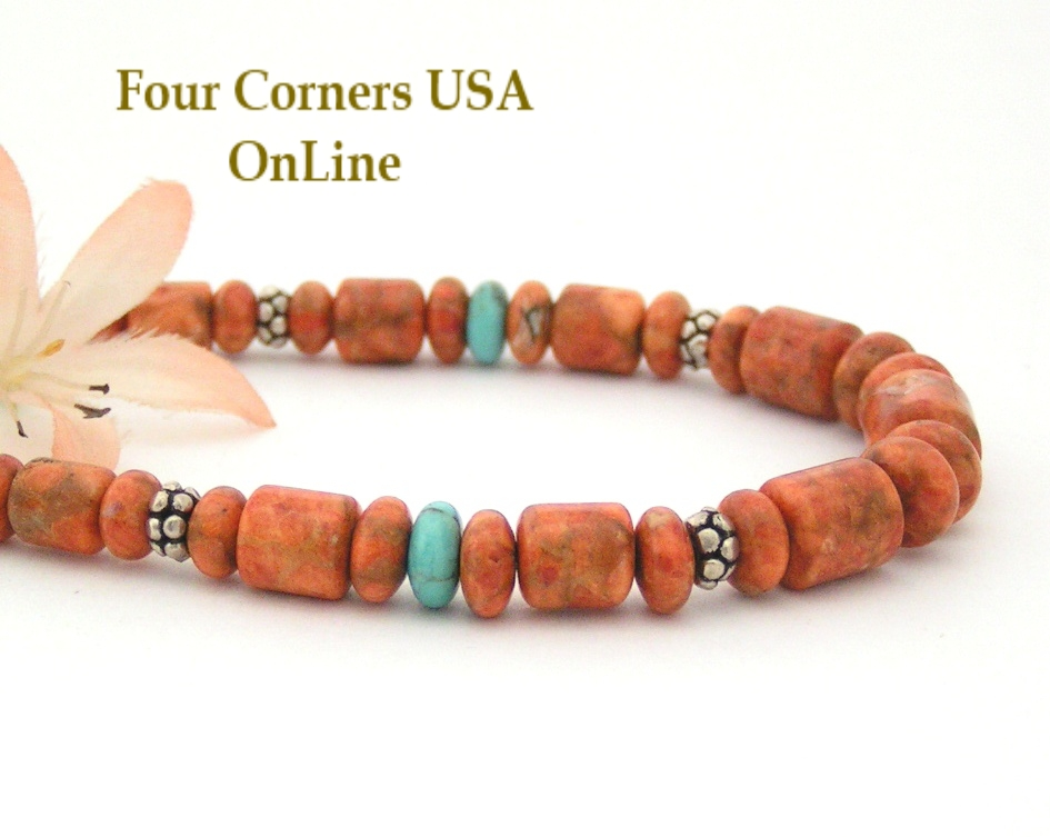 Apple Coral Bead Necklace Four Corners USA OnLine