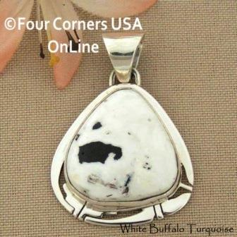 White Buffalo Turquoise Navajo Phillip Sanchez Four Corners USA OnLine Native American Silver Jewelry