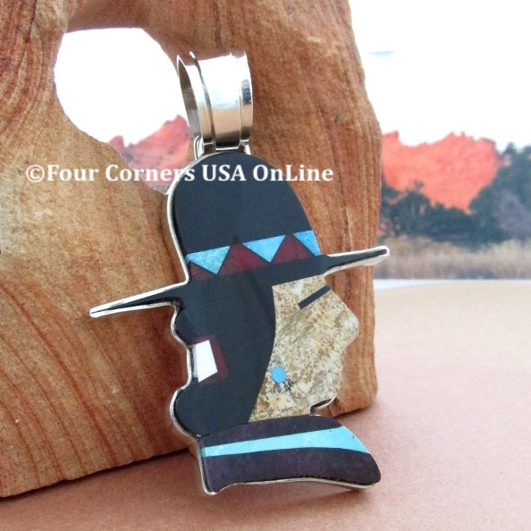 Profile Inlay Pendant Navajo Artisan Calvin Desson Four Corners USA OnLine Native American Silver Jewelry