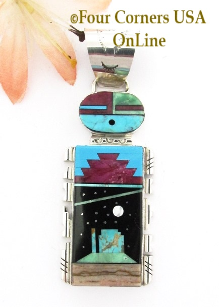 Sunface Starry Night Pendant Navajo Artisan Calvin Desson Four Corners USA OnLine Native American Jewelry